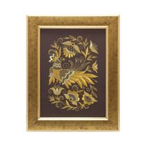 Mural 'Summer garden' brown with gold embroidery
