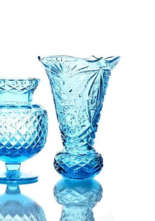 "Crystal vase for flowers ""Melisa"" turquoise"