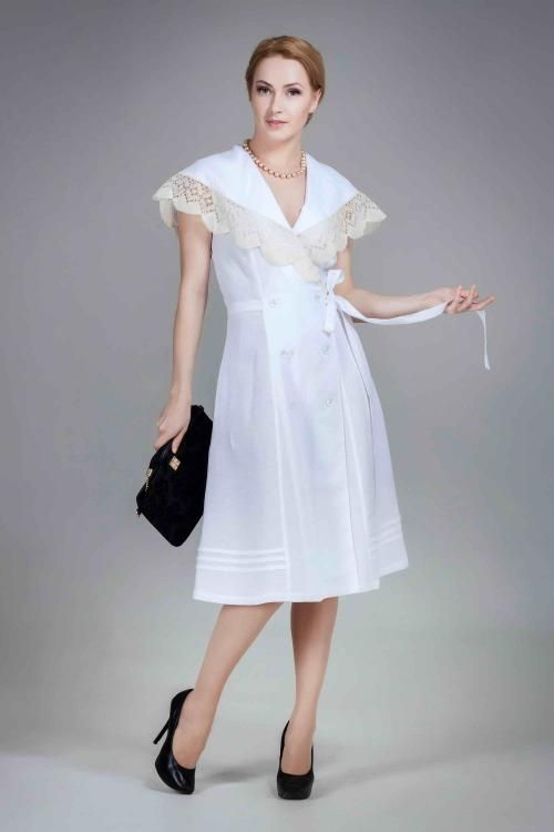 Dress womens linen with handmade lace