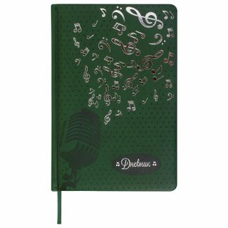 Diary for music school 48 sheets, cover of hard leather, thermal embossment, BRAUBERG, green