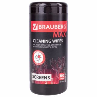 BRAUBERG / PRO thick wipes for screens of all types and optics, 13x17 cm, tube 100 pcs., Wet, 513284
