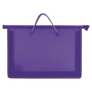 The zip folder with handles PYTHAGORAS, A4, plastic, zipper top, solid purple
