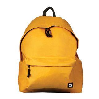 Backpack BRAUBERG, universal, city-format, single tone, yellow, 20 litres, 41х32х14 cm