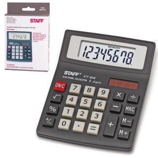 Desktop calculator STAFF STF-8008, COMPACT (113x87 mm), 8 digits, dual power supply