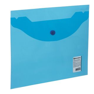 Folder-envelope with button SMALL FORMAT (240х190 mm), A5, transparent, blue, 0.18 mm, BRAUBERG