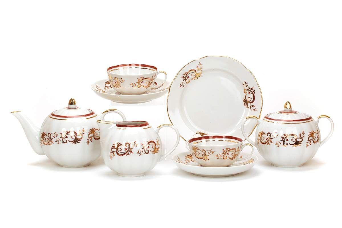 Dulevo porcelain / Tea set 15 pcs. Tulip Golden Lace