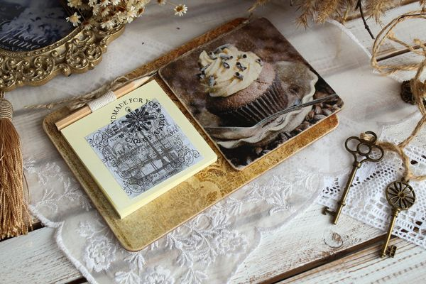 Handmade fridge magnet Chocolate cupcake with writing block