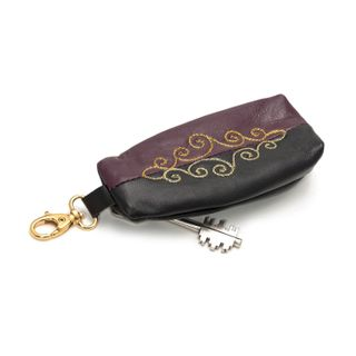 "Leather wallet ""Duet"" black with gold embroidery"