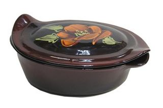 """Oval baking dish with handles """"Meal with lid"""" Poppy on black medium"""