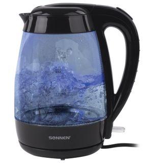 TEApot SONNEN KT-200BK, 1.7 litres, 2200 w, closed heating element, glass, lighting, black
