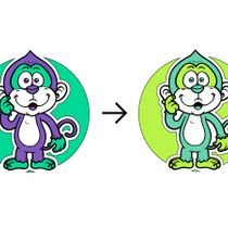 Decal on textile Monkey