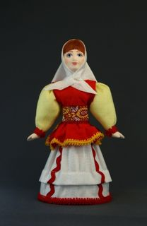 Doll gift porcelain. Peasant woman in a smart summer suit. 19th century. Russia.
