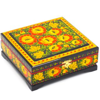 """The box """"Traditional hohloma painting"""" is wooden 170х170"""