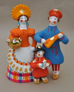 Dymkovo clay toy Family with a child