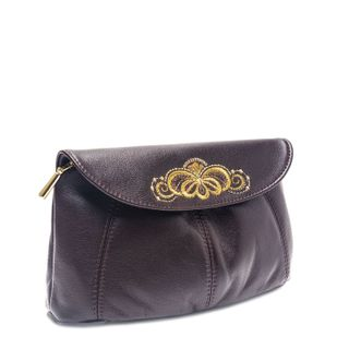 "Leather cosmetic bag ""Morning dew"" Burgundy with gold embroidery"
