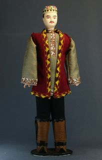 Doll gift porcelain. The costume of the Kazan Tatar. Late 19th - early 20th century.