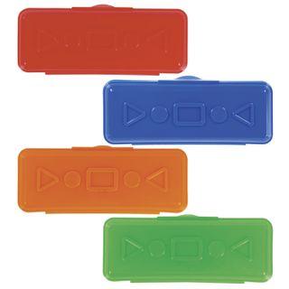 Pencil case plastic PYTHAGORAS plain, assorted 4 colors, 20х7х4 cm