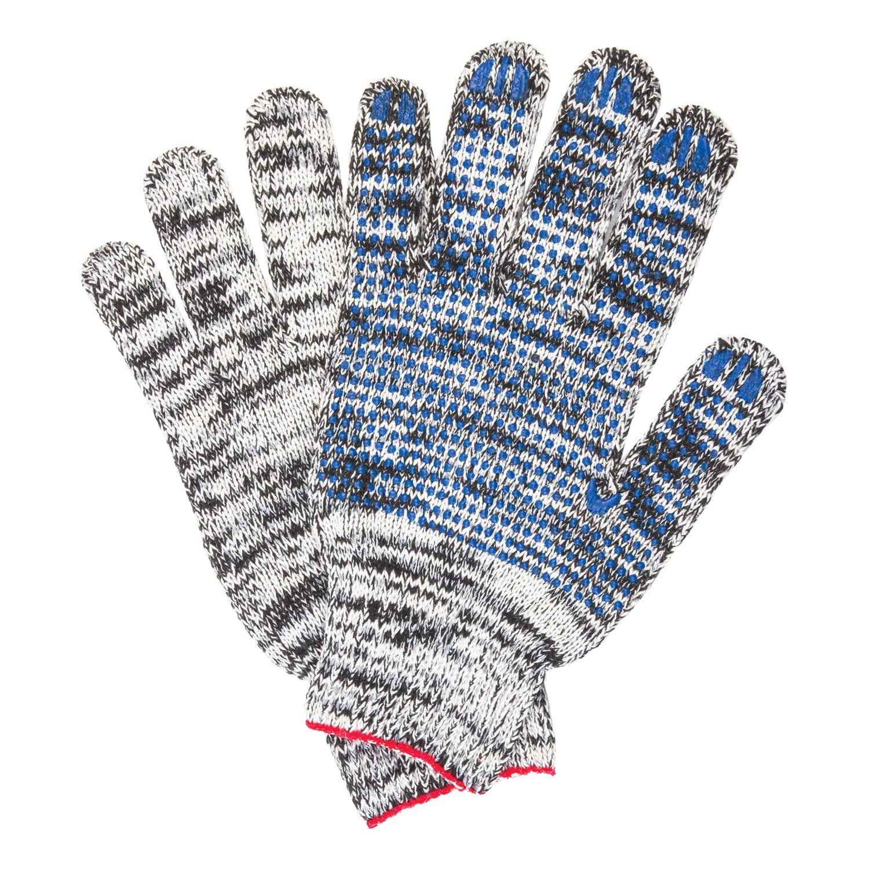 LIMA / Cotton gloves PROFI, SET 5 PAIRS, grade 7, 60-62 g, 216 tex, PVC-point, MELANGE