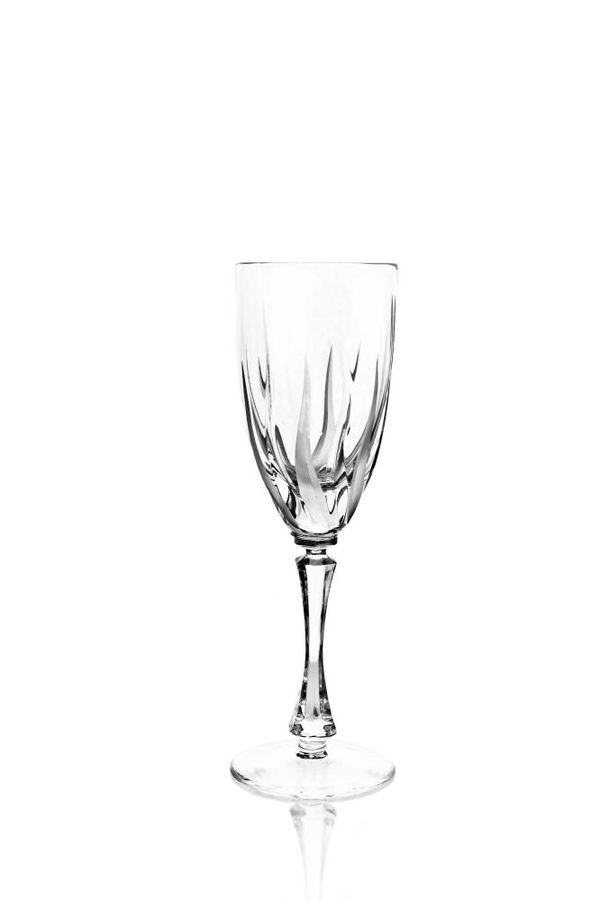 """Set of crystal glasses for white wine """"Flame"""" 6 pieces"""