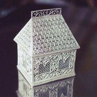 "Souvenir ""Hut"", Kazakov filigree, silver plating"
