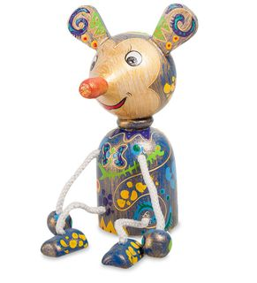 """Wooden figurine """"Mouse blue"""""""
