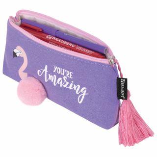 Pencil case-cosmetic bag BRAUBERG, canvas surround applications,