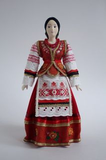 Doll gift porcelain. Cossack. Costume.