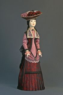 Doll gift porcelain. Lady urban fashion in French costume . The end of the 19th century Petersburg.