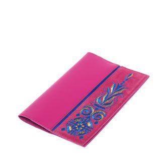 "Handmade leather passport cover ""Astrid"" fuchsia"