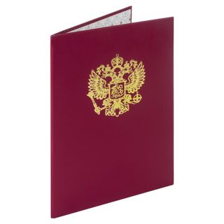 Folder address headphones with the emblem of Russia, A4, grey, individual packing, STAFF
