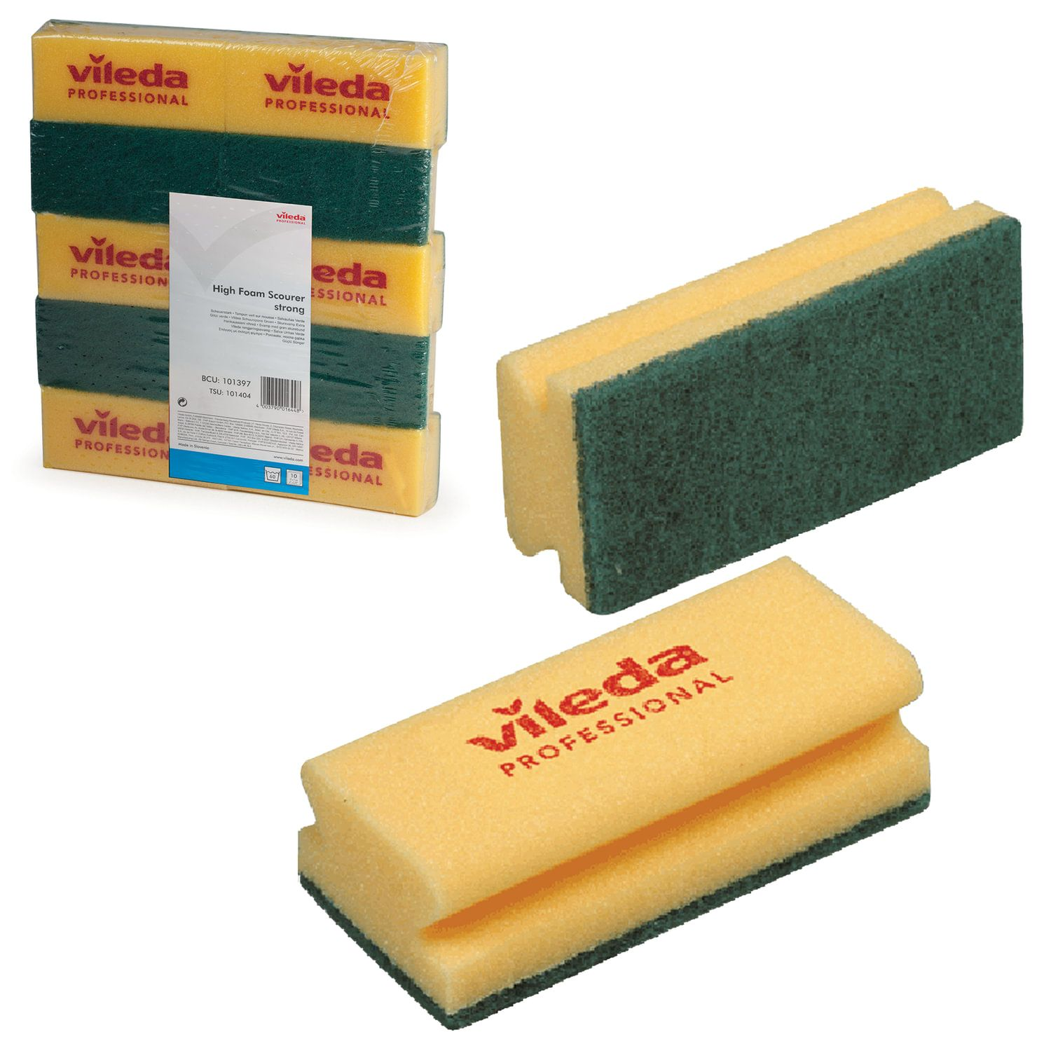VILEDA / Sponges for all surfaces yellow, green abrasive, 7x15 cm, set of 10 pcs.