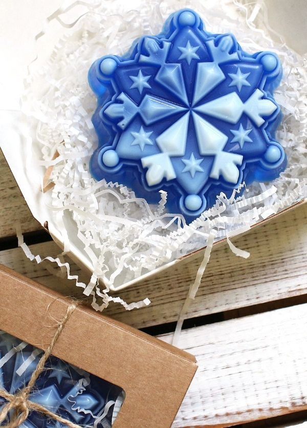 Handmade soap snowflake corners