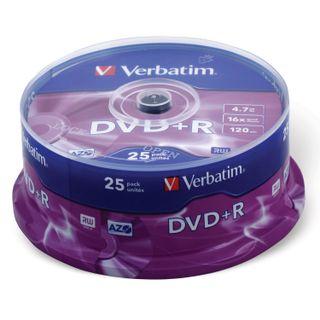 VERBATIM / DVD + R Discs (Plus) 4.7 Gb 16x Cake Box, 25 Pieces SET