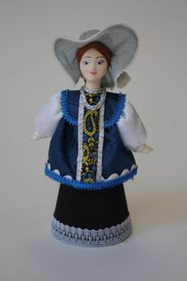 Doll gift porcelain. Olonets lips. Russia. Festive girl's costume.