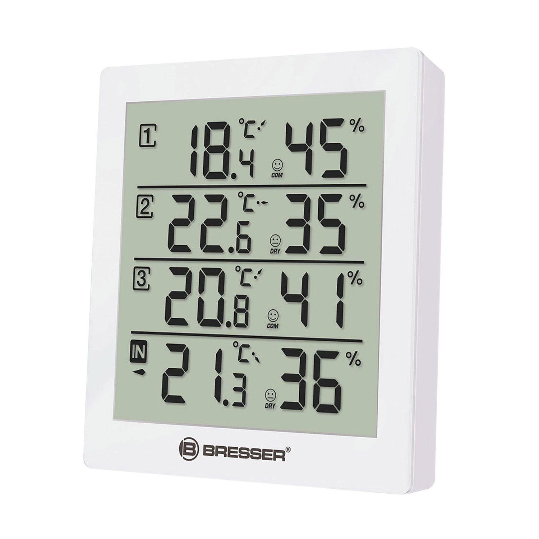 BRESSER weather station Temeo Hygro Quadro, 3 temperature sensor, hygrometer, white