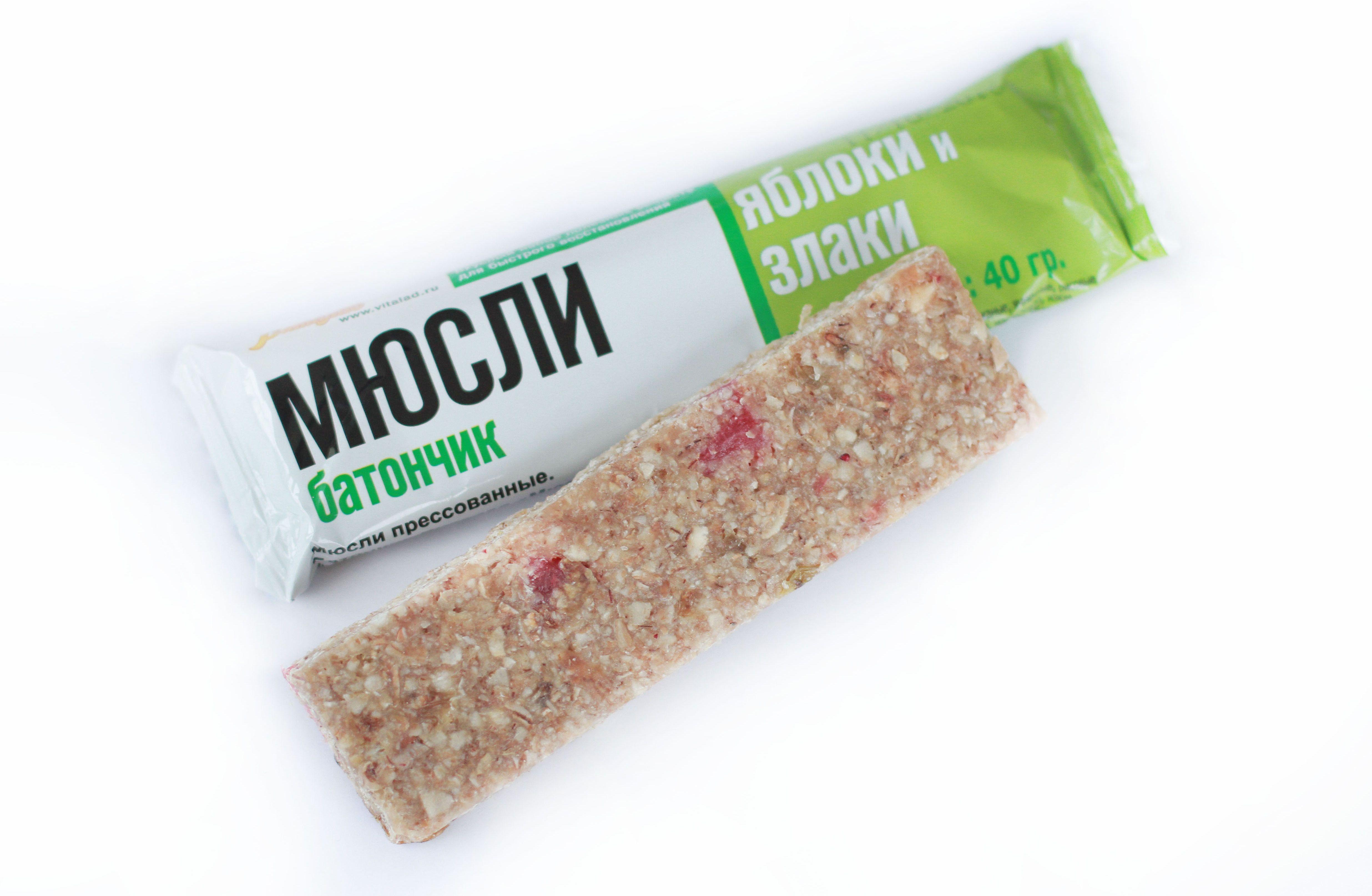 """Muesli pressed. Bar Vitalad """"Muesli apple and cereals"""", 40 grams"""
