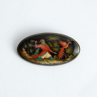 "Palekh / Brooch ""Firebird"", 6 * 3 cm, master Komardina"