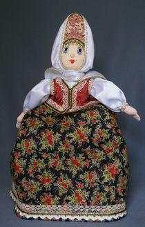 Souvenir doll - Baba on the teapot. Russian folk costume