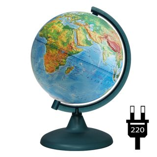 Physical relief globe with a diameter of 210 mm with backlight