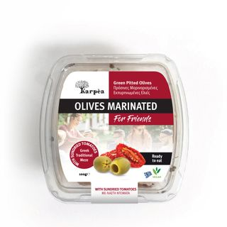 Olives green marinated pitted with sun-dried tomatoes