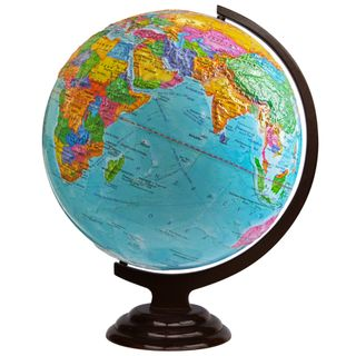 Political globe with a diameter of 420 mm embossed on a wooden stand
