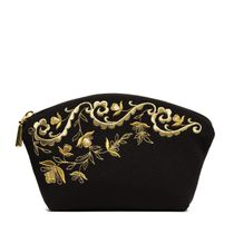 Nefertiti cosmetic bag black with a gold pattern
