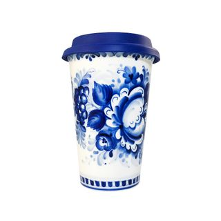 Author's coffee Cup with silicone lid, Gzhel Porcelain factory