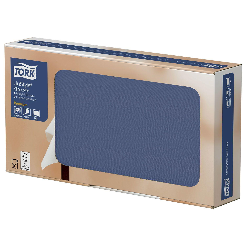 """TORK / Disposable nonwoven paper tablecloths """"LinStyle Premium"""" dark blue 80x80 cm, 20 pcs."""