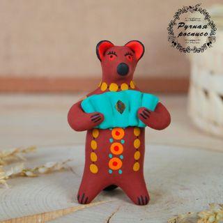Dymkovo clay toy Bear with accordion