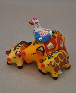 Dymkovo clay toy Pig with piglets