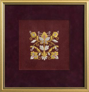 "Panels hand embroidery ""Inspiration"" Burgundy with gold embroidery"