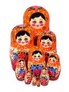 12 non-traditional matryoshka dolls