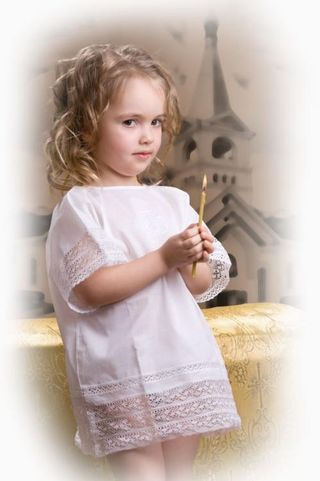 Children's baptismal chemise with embroidered cross