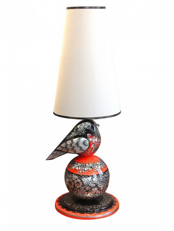 "Khokhloma painting / Table lamp ""Bullfinch"""